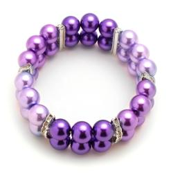 Tri-Colored Purple Glass Pearl Bead Stretch Bracelet