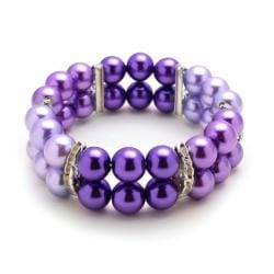 Tri-Colored Purple Glass Pearl Bead Stretch Bracelet