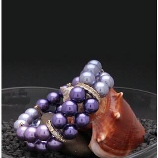 Bleek2Sheek Handmade Tri-color Purple Glass Pearl Stretch Bracelet
