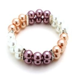 Beige/White/Mauve Glass Pearl Bead Stretch Bracelet - Thumbnail 1