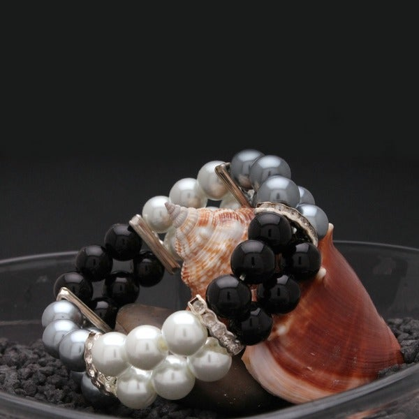 Bleek2Sheek Handmade Black/ White/ Grey Glass Pearl Beaded Stretch Bracelet