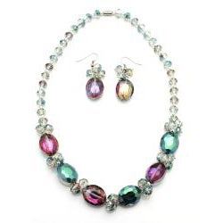 Indian Sapphire Volcano Crystal Necklace and Earring Set - Thumbnail 1