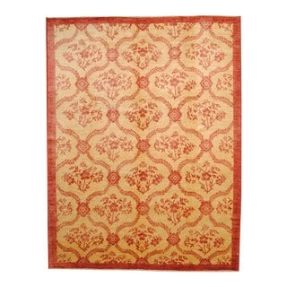 Herat Oriental Afghan Hand-knotted Vegetable Dye Oushak Beige/ Red Wool Rug (9'3 x 12')