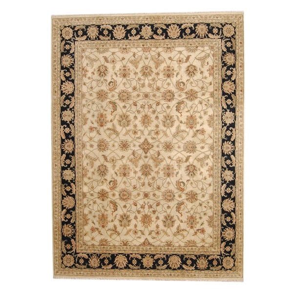 Herat Oriental Indo Hand-knotted Vegetable Dye Isfahan Wool Rug (8'9 x 12') - 8'9 x 12'