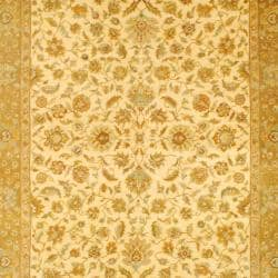 Indo Hand-knotted Vegetable Dye Mahal Ivory/ Brown Wool Rug (8' x 11'10)