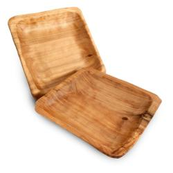 Set of 2 Enrico Root Wood Square Plates (China)