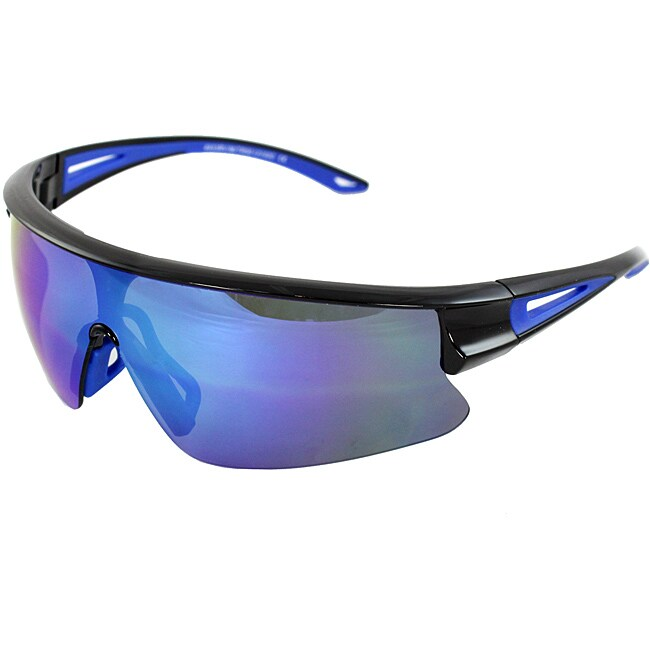 TR90 Sporty Wrap Sunglasses Black Blue 2tone Semi-Rimless Frame Blue Lenses with Comfortable Rubber Cushion Pad.