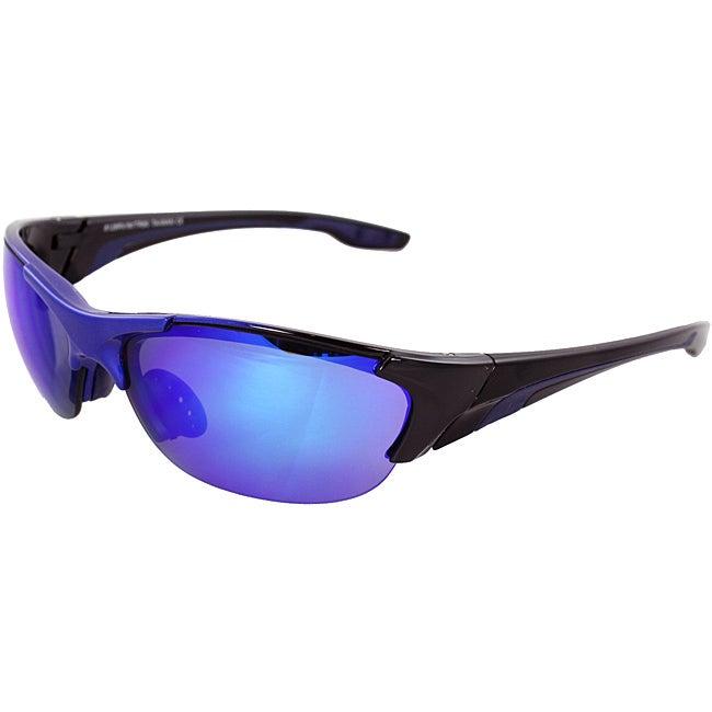 TR90 Wrap Sunglasses Blue Black 2tone Semi-Rimless Frame Blue Lenses with Comfortable Rubber Cushion Pad.