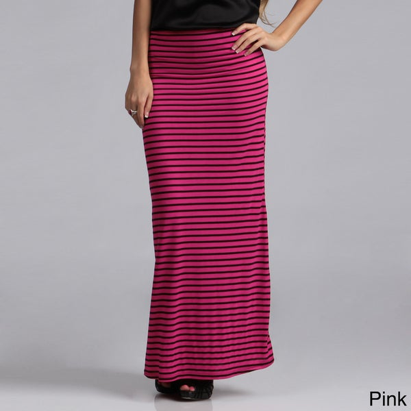 Tabeez Women's Striped Stretch Maxi Skirt