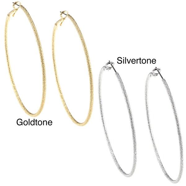 Silvertone/ Goldtone Diamond-cut Textured 70-mm Hoop Earrings