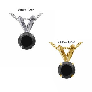 14k Gold 2ct TDW Black Diamond Solitaire Pendant Necklace