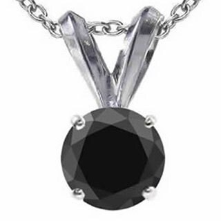 14k Gold 2ct TDW Black Diamond Solitaire Pendant Necklace