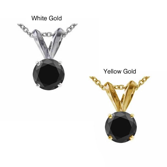 14K Gold 3ct TDW Black Diamond Solitaire Necklace