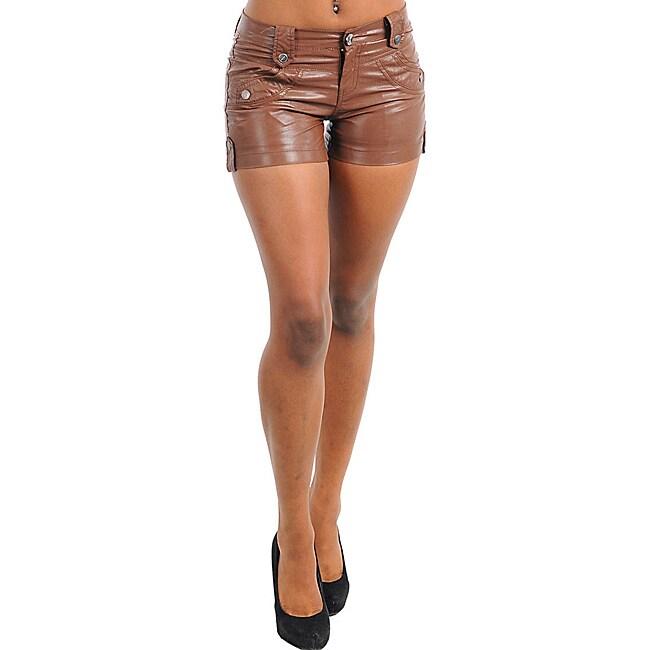 Stanzino Women's PVC Plus-size Coffee Brown Shorts