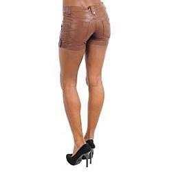 Stanzino Women's PVC Plus-size Coffee Brown Shorts - Thumbnail 1
