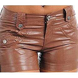 Stanzino Women's PVC Plus-size Coffee Brown Shorts - Thumbnail 2