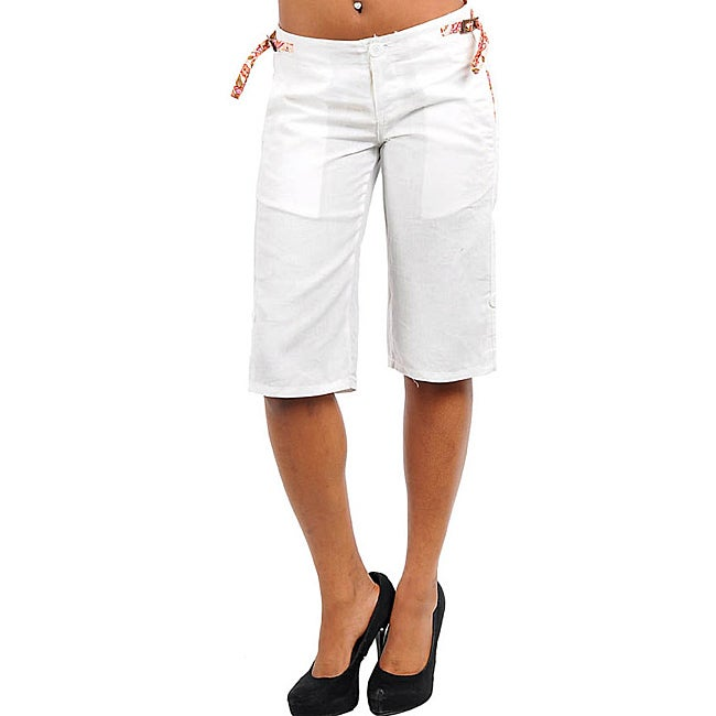 Stanzino Women's Plus-size White Linen Capris - Free Shipping On ...