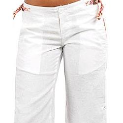 Stanzino Women's Plus-size White Linen Capris - Thumbnail 2