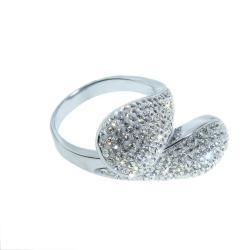 Eternally Haute Stainless Steel White Crystal Teardrop Cocktail Ring