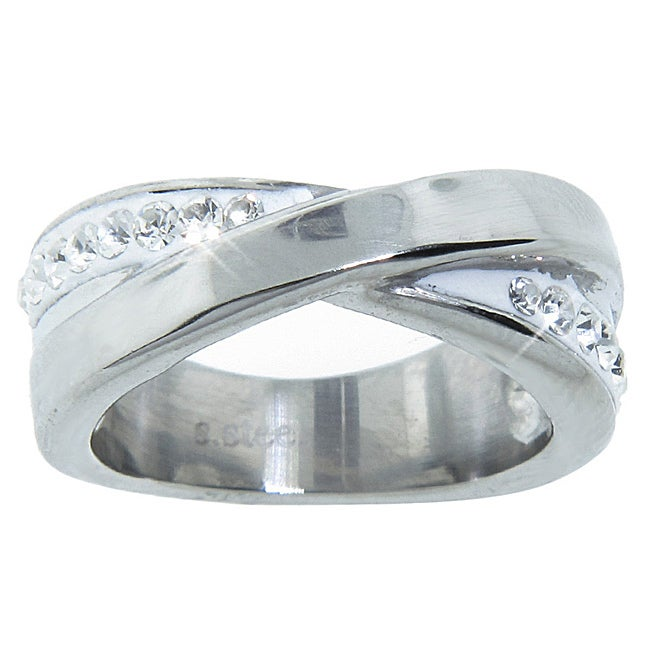 Eternally Haute Stainless Steel White Crystal 'X' Cocktail Ring