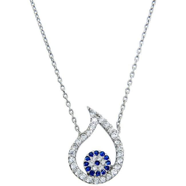 Eternally Haute Silver Blue and White CZ Evil Eye Teardrop Necklace