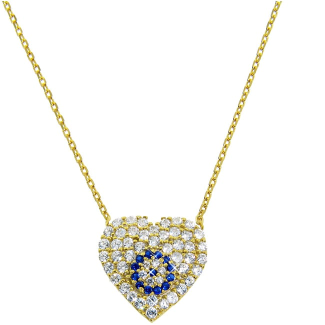 Eternally Haute Gold over Silver Blue and Clear CZ Evil Eye Heart Necklace
