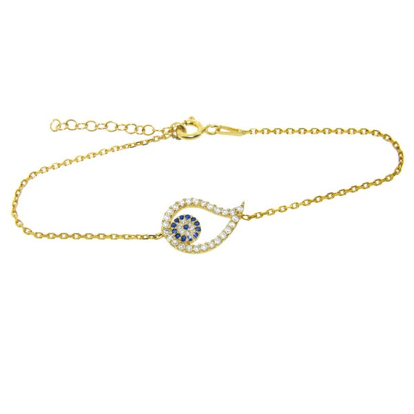 Eternally Haute Gold over Silver Blue and Clear Cubic Zirconia Evil Eye Bracelet