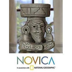 Handmade Ceramic 'Aztec Fire God' Sculpture (Mexico)