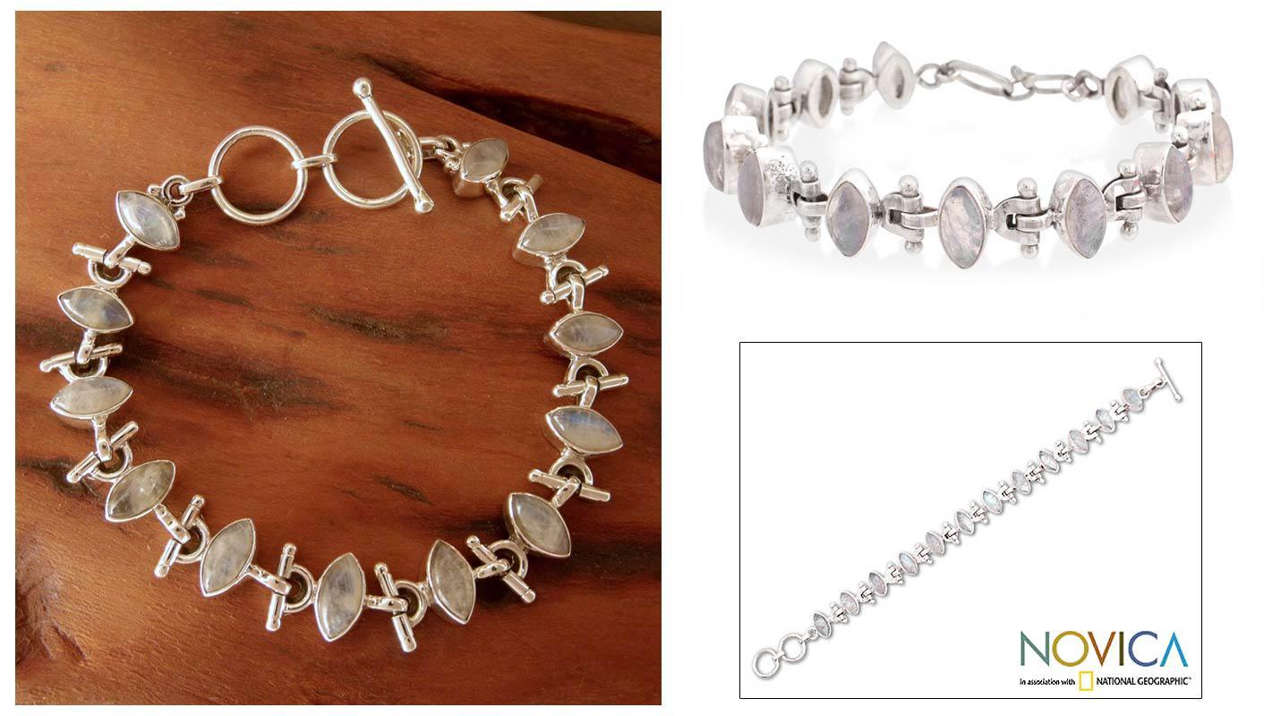 Sterling Silver 'Hope' Moonstone Bracelet (India)