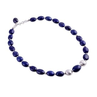 Forever Love Oval Lapis Lazuli Beads with 925 Sterling Silver Rondelle Beads and Lobster Claw 19 Inch Womens Necklace (India)