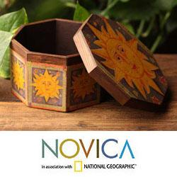 Pinewood 'Days of Sun' Decoupage Jewelry Box (Mexico)