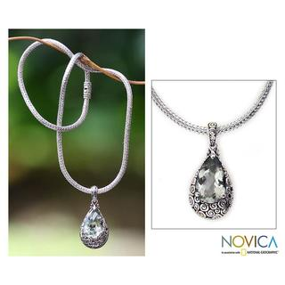 Handmade Sterling Silver 'Lime Teardrop' Prasiolite Necklace (Indonesia)