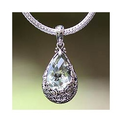 Handmade Sterling Silver 'Lime Teardrop' Prasiolite Necklace (Indonesia)
