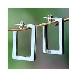 Handmade Sterling Silver 'Fair Square' Half Hoop Earrings (Indonesia)