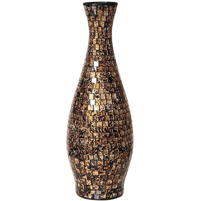 Gold And Black Small Mosaic Decorative Vase Indonesia