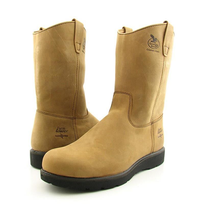 "GEORGIA Men's G4332 11"" Wellington Pull-On Brown Boots"