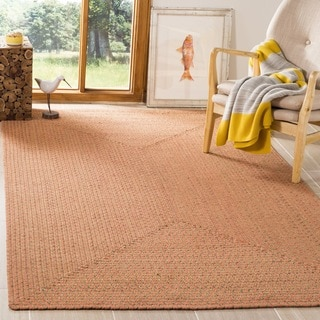 Safavieh Hand-woven Reversible Peach/ Green Braided Runner (6' x 6' Square)