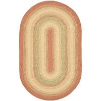 Safavieh Hand-woven Reversible Rust/ Ivory Braided Rug - 9' x 12' oval