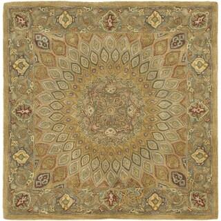 Safavieh Handmade Heritage Timeless Traditional Light Brown/ Grey Wool Rug (8' Square)