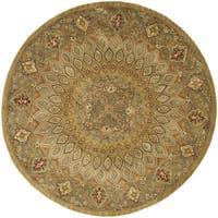 Safavieh Handmade Heritage Timeless Traditional Light Brown/ Grey Wool Rug (8' Round)