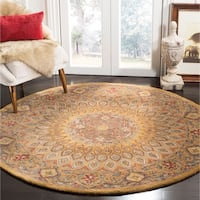 Safavieh Handmade Heritage Timeless Traditional Light Brown/ Grey Wool Rug - 8' x 8' Round