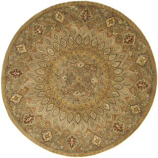 Safavieh Handmade Heritage Timeless Traditional Light Brown/ Grey Wool Rug (3'6 Round)