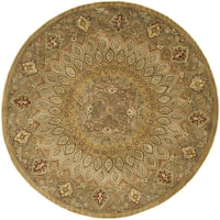 "Safavieh Handmade Heritage Timeless Traditional Light Brown/ Grey Wool Rug - 3'6"" x 3'6"" round"