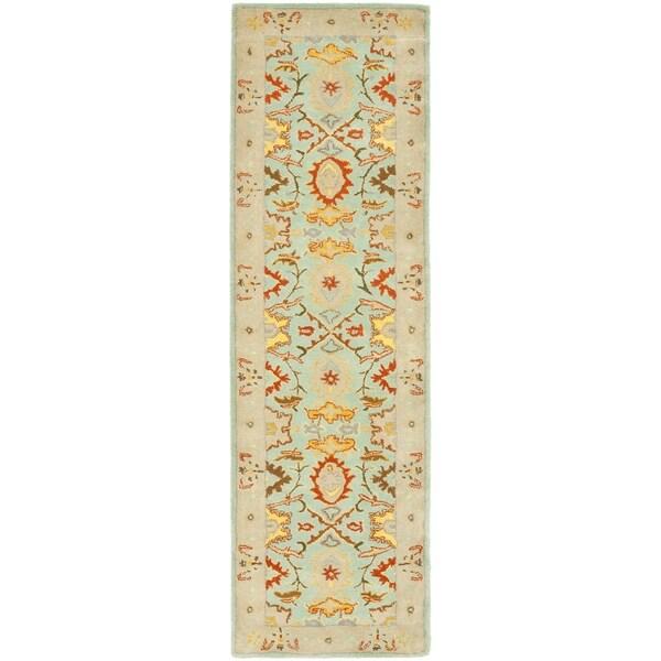 Safavieh Handmade Heritage Timeless Traditional Light Blue/ Ivory Wool Rug (2'6 x 6')