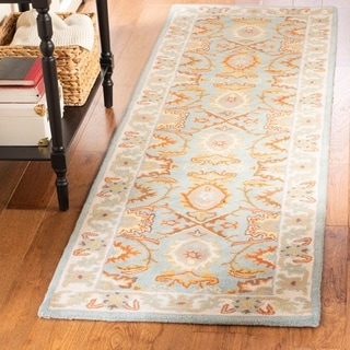 Safavieh Handmade Treasures Light Blue/ Ivory Wool Rug (2'3 x 6')