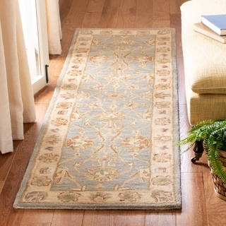 Safavieh Handmade Heritage Traditional Kerman Blue/ Beige Wool Rug (2'3 x 20')
