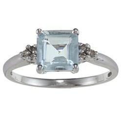 10k White Gold Aquamarine and Round-cut Diamond Accent Ring