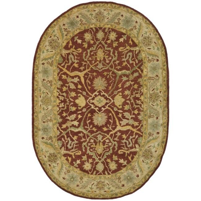 Safavieh Handmade Antiquities Mahal Rust/ Beige Wool Rug (4'6 x 6'6 Oval)
