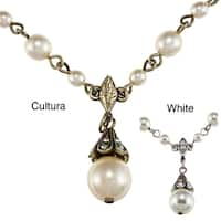Sweet Romance Crystal and Pearl Vintage Wedding Victorian Necklace
