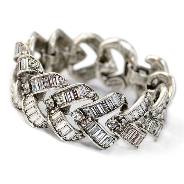 Sweet Romance Art Deco Vee Baguette Crystal Wedding Bracelet